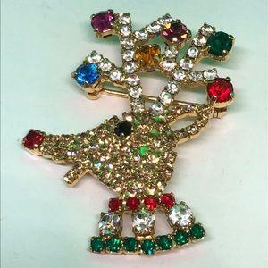 Adorable Sparkling VTG Reindeer Brooch